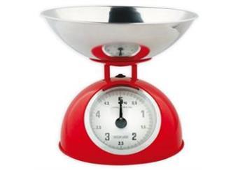 Kuchyňská váha retro (max. 5kg) AKČNÍ CENA - červená, černá - uveďte do poznámky