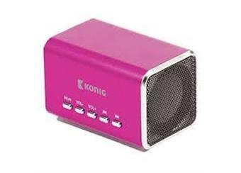 přehravač MP3 König mini  reproduktory 2x3W   skladem  fialová metalíza,vstup USB, mikro SD,Lion, baterie , nabíjení 5V z PC nebo zdroje