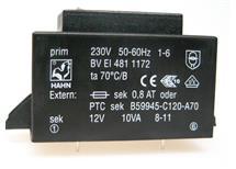 HAHN BV EI 481 1172 -do tištěných spojů 230/1x12V 10VA
