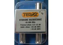 Ant. rozbočovač hybridní č.102 (IEC konektory) útlum 4,5 db atest výrobku 40-860Mhz průch. pro napájení