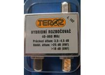 """Ant. rozbočovač hybridní č.102 """"F"""" ATEST odb.útlum 3,8 db 40-860Mhz průch. pro napájení"""