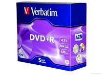 DVD+R Verbatim 4,7GB, Balení 5 ks cena 45 kč
