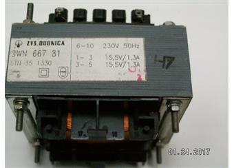 trafo 230 2x15,5V 2x1,3A  9WN66781  oddělené vinutí rozměr jádra 33x75x63mm precizní provedení v akci