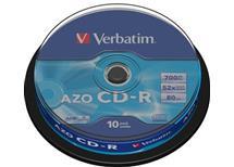 CD-R Verbatim AZO 700MB 52x spindle , Balení 10 ks cena 63 kč