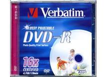 DVD-R Verbatim Glossy Printable 16x 4,7GB, Balení 10 ks cena 140 kč