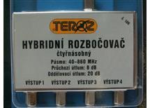 """Ant. rozbočovač hybridní ČTYŘNÁSOBNÝ - č.106 ( """"F"""" konektory) 47-950 Mhz"""