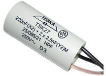220n+2x2n5 250V AC 6A  TSK27 3vývodový odruš. kond 18×38mm