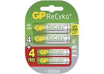 Baterie GP ReCyko 4x AA + 4x AAA 2000mAh